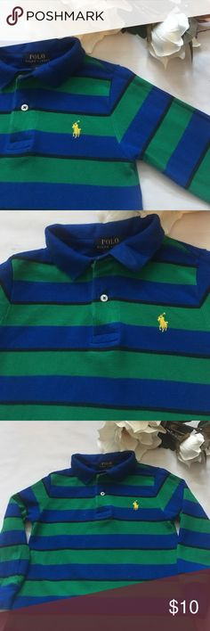 ⚜2T Long Sleeve Ralph Lauren Polo Striped⚜ Striped (green, black, blue) Ralph Lauren Polo long sleeve shirt with yellow polo emblem⚜100% cotton Polo by Ralph Lauren Shirts & Tops Polos