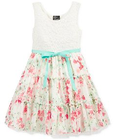 Pink & Violet Little Girls' Lace-to-Floral Dress - A floral print that coordinated with the color scheme would be really nice.