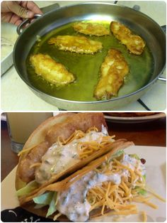 Beer Battered Fish Tacos with Baja Sauce. (SOOOOO GOOOOOOD! -antje)