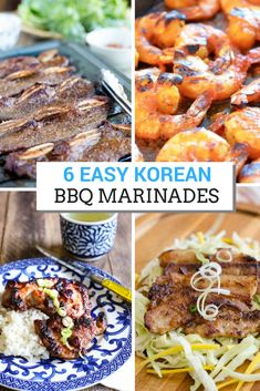 6 Easy Korean BBQ Marinades for beef, pork, chicken and shrimp. Great for summer grilling parties. via @kimchimari