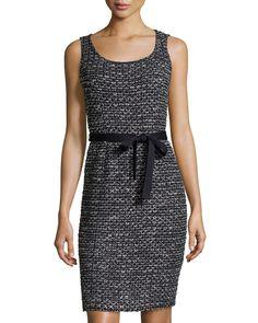 St. John Santana Check-Knit Belted Sleeveless Sheath Dress, Black, Women's, Size: 4, Bkbk