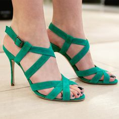 replacement for green suede pumps that Christina Aguilera once wore. via Barneys New York