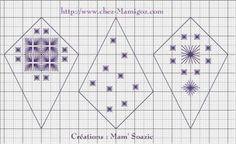 Déco Sapin: Boule de Neige brodée, point fantaisie 10 cm