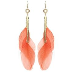 coral feather drop earrings (£7) ❤ liked on Polyvore featuring jewelry, earrings, accessories, brincos, bijoux, feather earrings, coral drop earrings, drop earrings, earring jewelry and coral earrings
