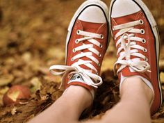 Orange Converse girl outdoors shoes autumn leaves orange