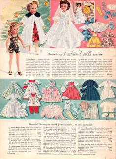 Vintage Miss Revlon doll catalog page. Old Dolls, Antique Dolls, Vintage Dolls, Vintage Advertisements, Vintage Ads, Vintage Images, Toy Catalogs, Retro Toys, 1960s Toys