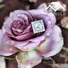 White gold princess cut diamond engagement ring with halo. Radiant Cut, Princess Cut Diamonds, Diamond Engagement Rings, Halo, White Gold, Wedding Rings, Rose, Pink, Corona