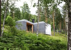 This basalt-clad cabin with a curvaceous wood-panelled interior has been perched on a wooded slope high over a Norwegian lake.