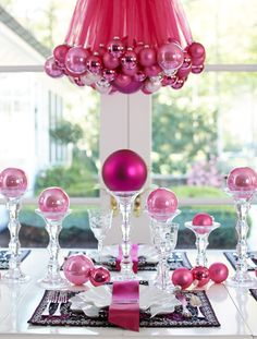 Pink holiday decorations