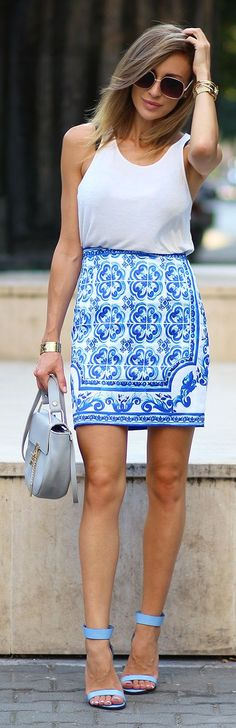 Fashion Spot Blue Retro Print Slirt Fall Inspo