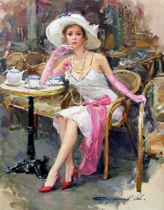 Kai Fine Art is an art website, shows painting and illustration works all over the world. Woman Painting, Painting & Drawing, Tea Art, Fine Art, Beautiful Paintings, Female Art, Tea Time, Vintage Ladies, Retro Vintage