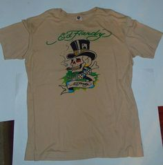 Ed Hardy Designs Men's Size 2XL Graphic T Shirt Beige Top Hat Card Playing Skull #EdHardy #GraphicTee