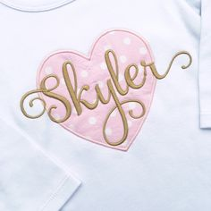 Monogrammed Pink and Gold Heart Shirt | Gentry's Closet | $24 | Click link to shop: http://gentryscloset.com/collections/valentines-day/products/copy-of-girls-customized-pink-and-gold-birthday-shirt