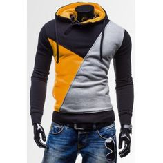 Stylish Hooded Slimming Multicolor Splicing Long Sleeve Cotton Blend Hoodie For Men-12.32 and Free Shipping| GearBest.com