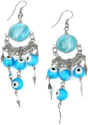 Stainless Steel Aqua Round Murano Glass Evil Eye Peruvian Earrings