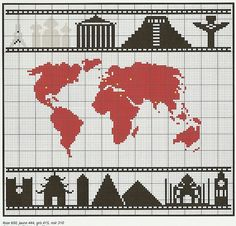 World map free chart Wool Embroidery, Cross Stitch Embroidery, Embroidery Patterns, Cross Stitch Charts, Counted Cross Stitch Patterns, Crochet Cross, Blackwork, Tapestry Crochet, Cross Stitching