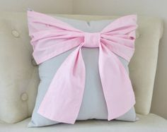 BLACK FRIDAY SALE White Big Bow Pillow 16 x 16 Throw by bedbuggs