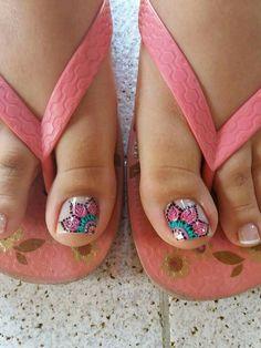 58 Ideas Nails Verano 2018 For 2019 Pretty Toe Nails, Cute Toe Nails, Pretty Toes, Fun Nails, Love Nails, Pedicure Designs, Pedicure Nail Art, Toe Nail Designs, Toe Nail Art