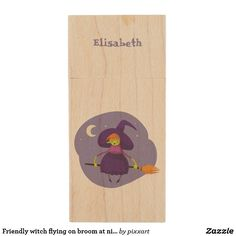 Friendly witch flying on broom at night halloween wood USB flash drive