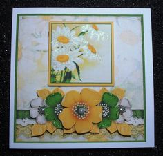 Vintage Grunge Card Kit  Flowers and Laces yellow green 1150 by Jennie Furness