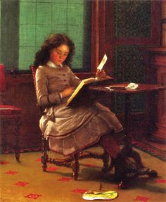 Young Girl Reading (1877). Seymour Joseph Guy (1824-1910). Although born in England, Guy became one of America's most famous genre painters, celebrated for his delicate genre paintings of women & children in domestic environments. Several of his paintings revolved around reading. In 1852 he married Anna Maria Barber (c. 1832–1907), daughter of William Barber, an engraver. The couple had 9 children who undoubtedly served as models for their father.