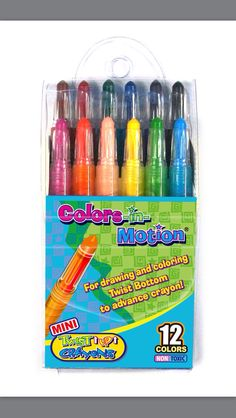 New package design of 12 Mini Colors-in-Motion crayons