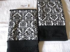 DAMASK guest towel 1 hand towel in damask trim beautiful bath or kitchen  elegant design cotton. $7.50, via Etsy.