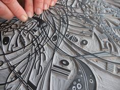 Angie Lewin cutting lino in her studio for a limited edition print - http://www.angielewin.co.uk
