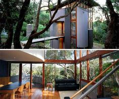 Totally Eco friendly Hillside small home~Nestled among large eucalypti, this small house has been planned as a tower, minimizing its footprint on the site