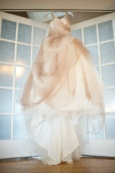 Beige tulle gown from Vera Wang