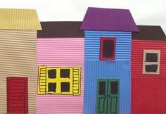 Argentina Craft - beautiful textured project to make colorful La Boca Houses (geography, homeschool, preschool)