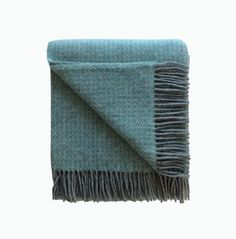 Illusion Wool Blanket in Spearmint and Grey - James & May – James & May