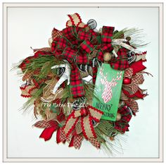 Christmas Wreath - Merry Christmas Wreath - Christmas Deer Wreath - Rustic Christmas Wreath - Christmas Gift - Gift for Her - Cabin Wreath by TheNakedDoorLLC on Etsy