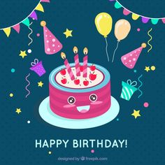 Birthday cake background with elements #Free #Vector  #Background #Birthday #Invitation #Happybirthday #Party #Gift #Box #Cake #Giftbox #Anniversary #Celebration #Happy #Confetti #Present #Birthdayinvitation #Balloons #Gifts #Elements #Birthdaycake #Partyinvitation
