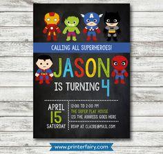 Invitación Superheroes personalizada - Los avengers