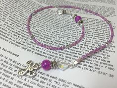 Cross Bookmark in Pink- Beaded Book Thong- Religious Gifts