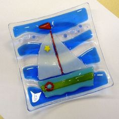 Fused glass dish Sailing Boat by Glassprimitif on Etsy, $28.00
