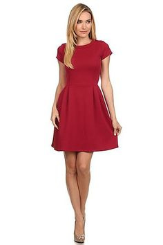 Red quilted, knit, fit and flare Christmas dress with short sleeves and pleat detail on skirt Polyester Spandex Size Chart: - Small: - Medium: - Large: 10 Knit Dress, Dress Skirt, School Dance Dresses, Autumn Winter Fashion, Winter Style, Boutique Dresses, Dresses For Work, Fall Dresses, Fit And Flare