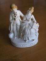 Vintage Made In Japan Victorian Man & Woman Gilt Porcelain Figurines Marked