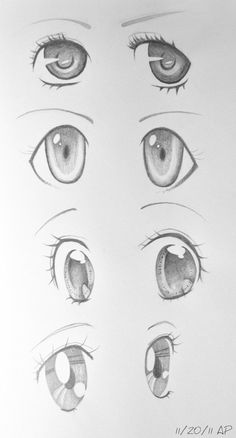 Anime Eyes II by AnhPho.deviantart… on Anime Eyes II por AnhPho. Anime Drawings Sketches, Cool Art Drawings, Pencil Art Drawings, Anime Sketch, Kawaii Drawings, Chibi Sketch, How To Draw Anime Eyes, Manga Eyes, Drawing Faces