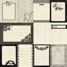 Wedding bells are in the air with the Always collection done in gorgeous shades of black and cream. Pad has 24 sheets of double-sided papers Printable Planner Stickers, Journal Stickers, Printable Paper, Journal Cards, Bullet Journal Notebook, Bullet Journal Ideas Pages, Bullet Journal Inspiration, Scrapbook Paper Projects, Mini Drawings