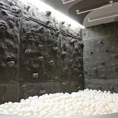 Such a cool rock climbing wall in a Rec Room.  Complete with ball pit! Home Climbing Wall, Rock Climbing, Indoor Climbing, Cool Rocks, Indoor Playground, Playground Toys, Play Houses, My Dream Home, Interior Design Living Room