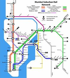 Map of Mumbai Local Trains Local Train Map, Local Map, Mumbai Map, Mumbai City, General Knowledge Book, Tourist Map, Train Times, Wow Art, India Travel