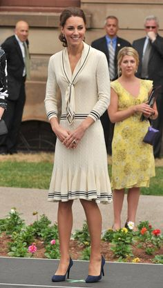 Pin for Later: Kate Middleton's Canada Style Has Something in Common With Your Own  Kate selected a throw-on-and-go Alexander McQueen sailor-inspired number for a visit to the Province House.