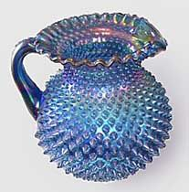 """*FENTON ART GLASS ~ Pitcher in blue, 7 1/2"""" tall, w/ certificate + signed by members of Fenton"""
