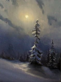 original landscape painting night snow by devinrobertsstudio, $150.00