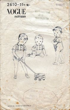 1950s Vintage Pattern Vogue 2610 Baby by allthepreciousthings, $12.00