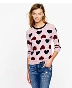 JCrew Womens Heartbreaker Heart Lavender Sweater Top Shirt 2012