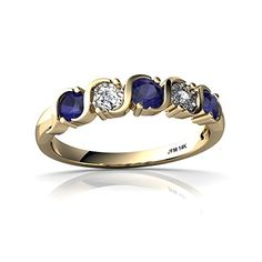 14kt Gold Sapphire and Diamond 3.5mm Round Anniversary Band Ring ** Want to know more, click on the image.