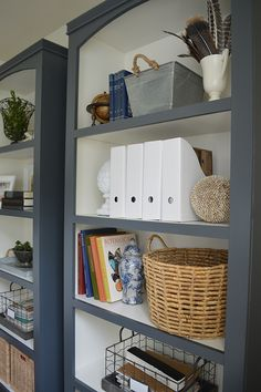 DIY Bookshelves in a Home Office Makeover